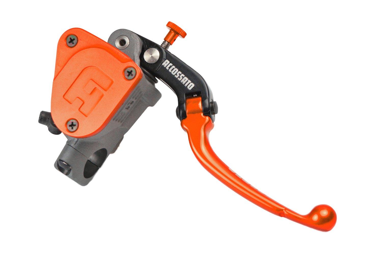 ACCOSSATO(アコサット) ラジアルブレーキマスターシリンダー PK(リザーバータンク一体)モデル φ19x18 可倒式レバー オレンジ   B00VTICK46
