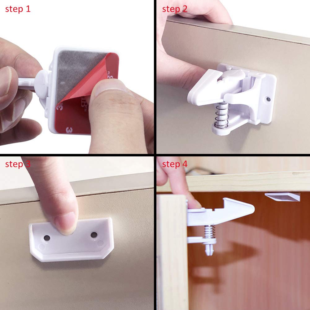 COCODE Cabinet Locks Child Safety Latches for Drawers & Cabinets - 12 Pack Baby Proofing Kit Invisible Design with Adhesive Easy Installation No Tools Needed No Drilling or Extra Screws Fixed by COCODE (Image #3)
