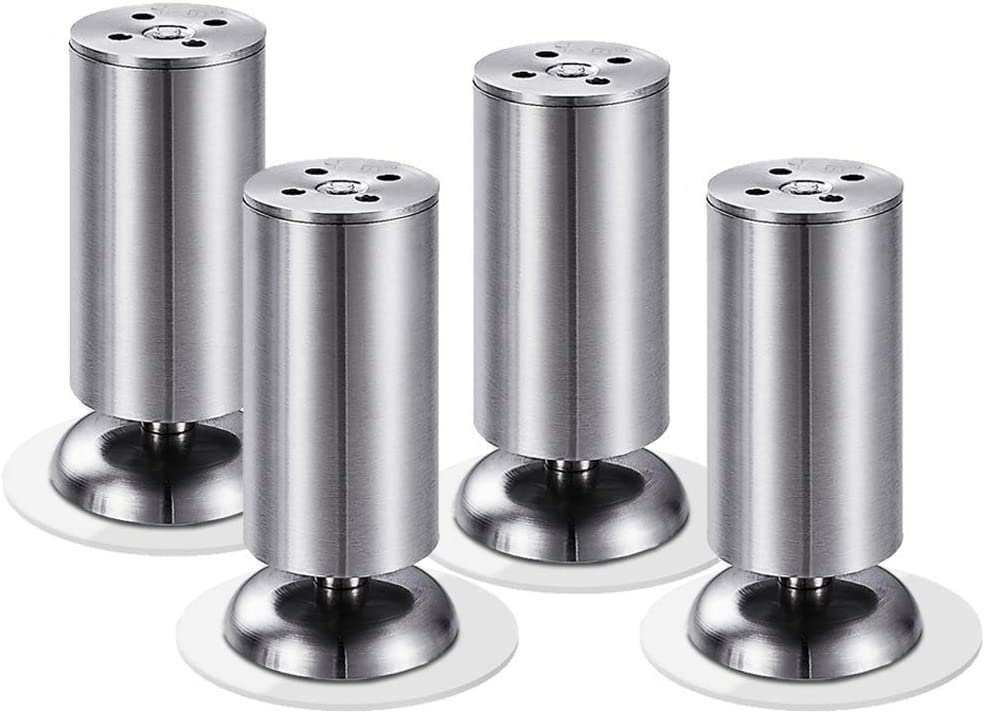 Furniture Feet, Stainless Steel Sofa Legs - Coffee Table TV Cabinet Feet, Adjustable, 4 Pieces (Silver, Black)