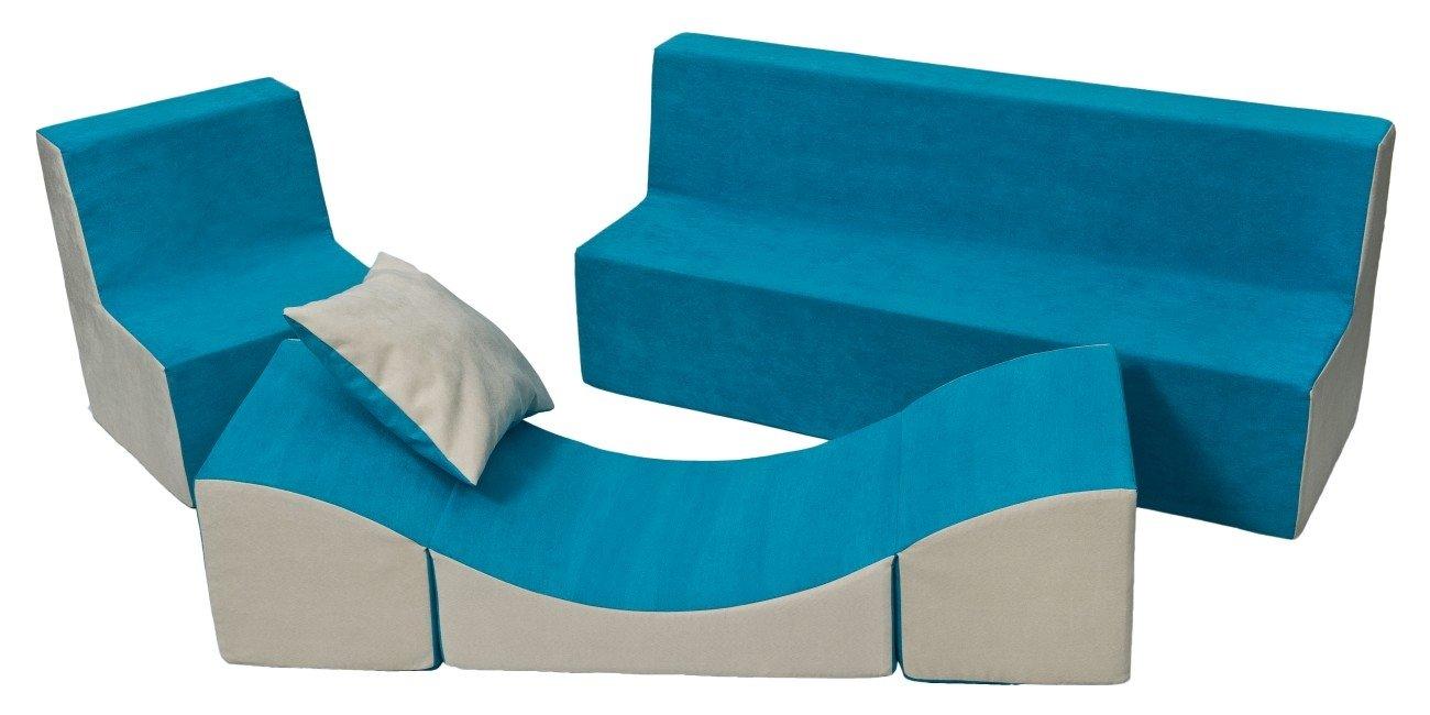 Ensemble de meubles enfant: fauteuil+canapé+pouf dépliant (chaise longue) (couleur: bleu-beige)