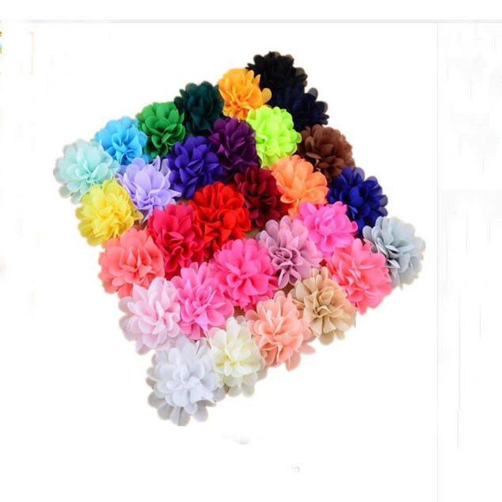 12 Pc New Mini Peony Flower Clip Stretch Nylon Hair Headband Baby Girl Newborn