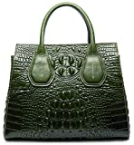PIFUREN Classic Embossed Crocodile Genuine Leather Top Handle Satchel Handbags M1103(One Size, Green)
