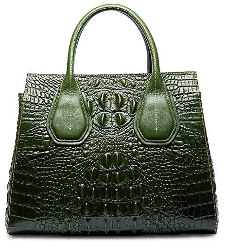 PIFUREN Classic Embossed Crocodile Genuine Leather Top Handle Satchel Handbags M1103(One Size, Green) by PIFUREN