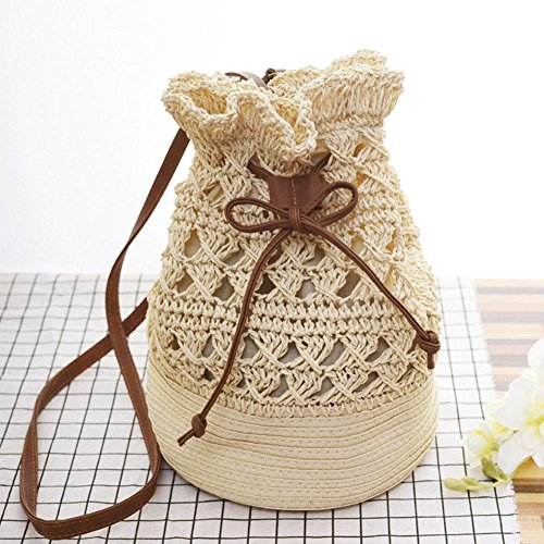 Beige Straw Bag Everpert Women Bucket Shoulder Drawstring Crossbody Beach Crochet Handbag ww6vxqF