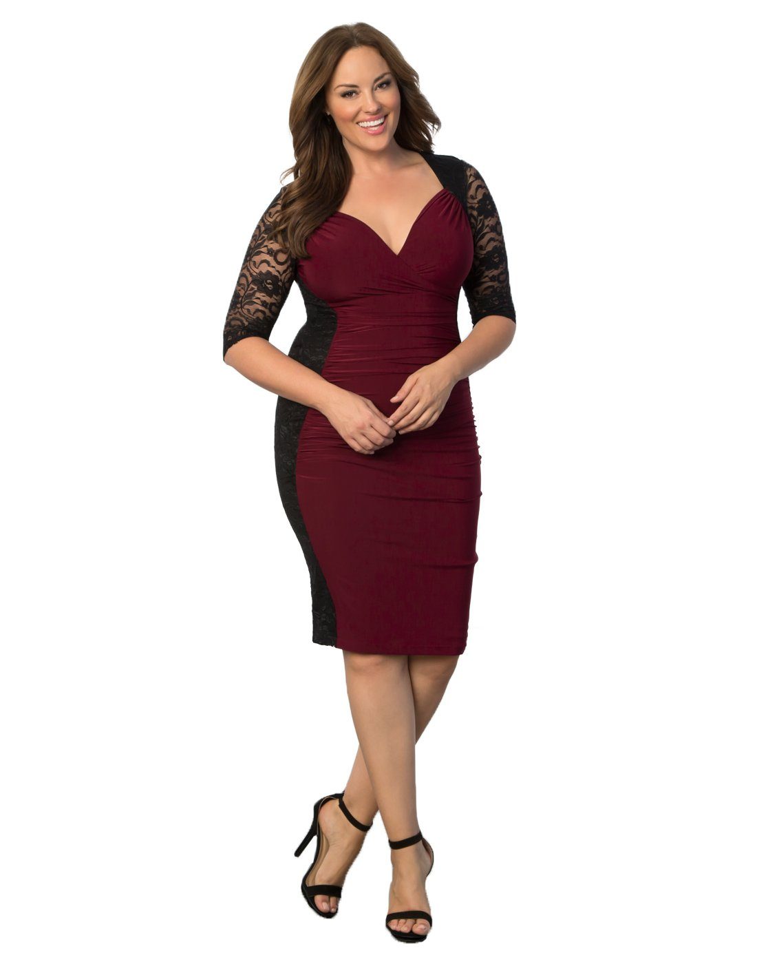 Kiyonna Women's Plus Size Valentina Illusion Dress 0X Black/Burgundy by Kiyonna Clothing