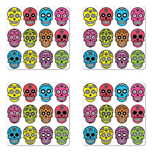 Skull Coaster Set of Four by Lunarable, Ornate Colorful Traditional Mexian Halloween Skull Icons Dead Humor Folk Art Print, Square Hardboard Gloss Coasters for Drinks, (Mexian Party)