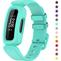 TopPerfekt Bands Compatible with Fitbit Ace 3 for Kids, Soft Silicone Waterproof Bracelet Accessories Sports Watch Strap…