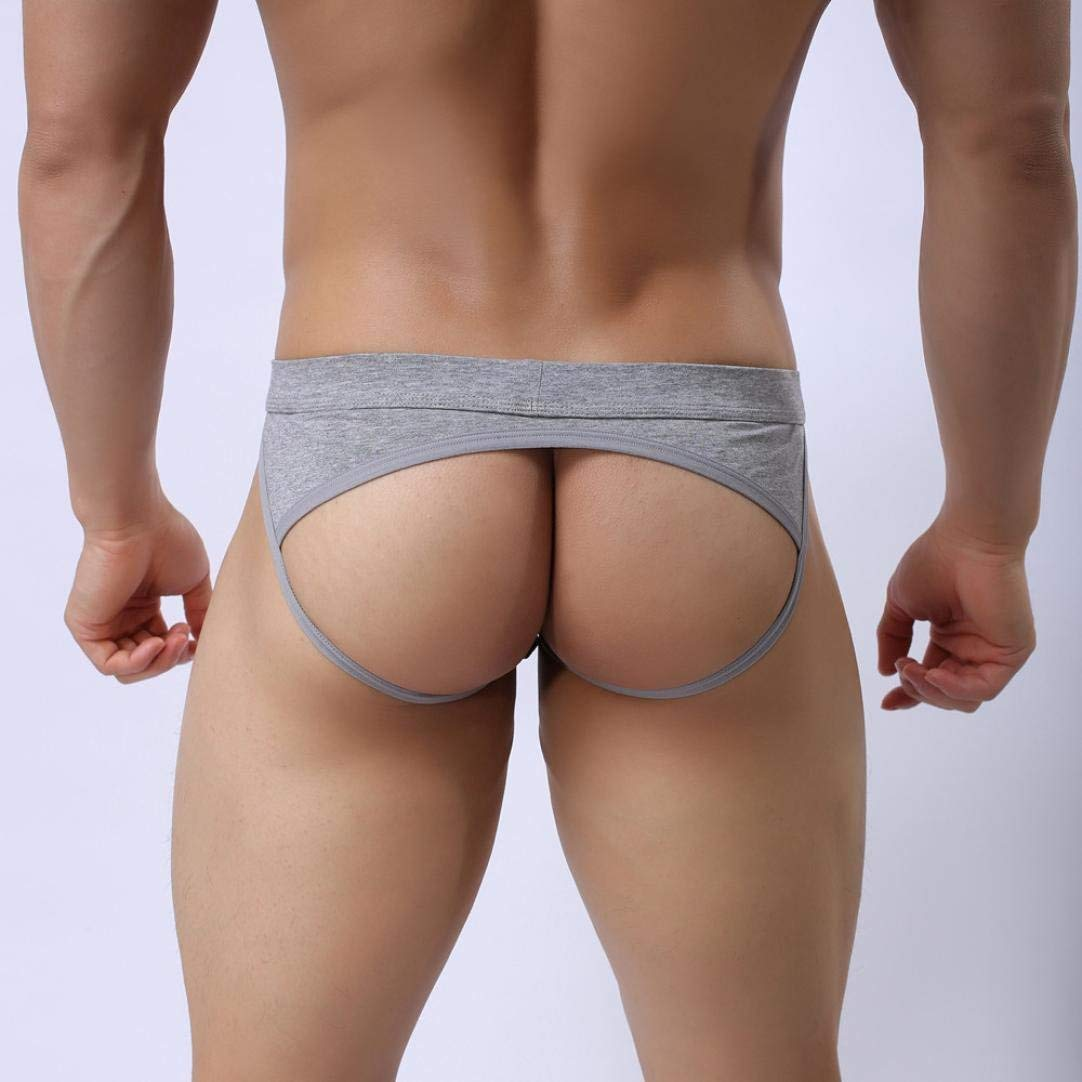 Comhere Gym Jockstraps Athletic Supporters for Men Jock Underwear Jock Thong Jock Brief Bulge Pouch (Gray, M)