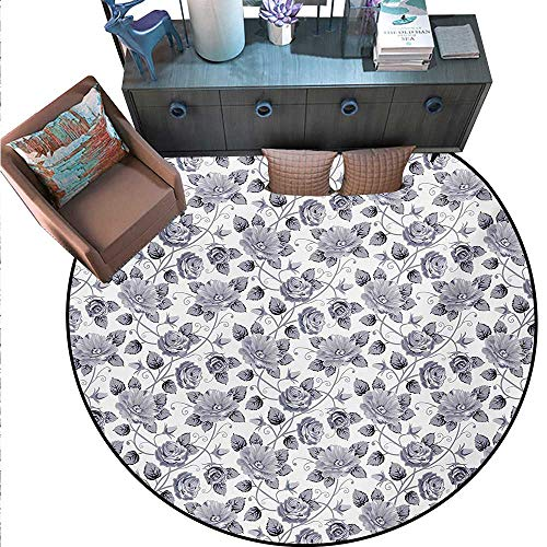 Grey Non-Slip Round Rugs Floral Patterns Victorian Inspired Roses Dark Flowers in Monochrome Graphic Print Living Dinning Room Bedroom Rugs (55
