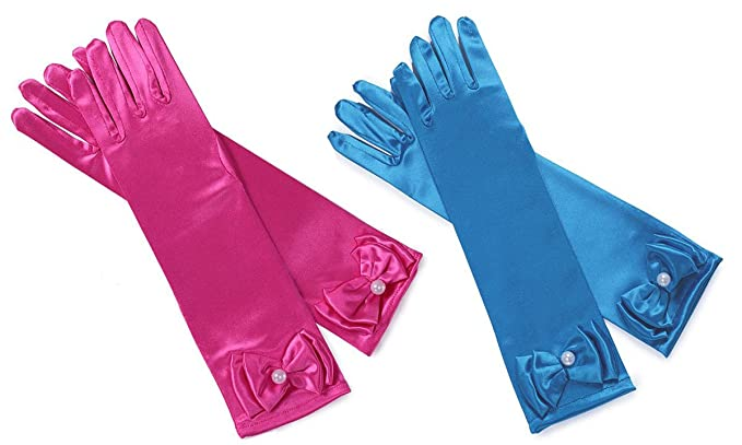 282d7930a9 Amazon.com  YallFairy 4-Pairs Little Girls Princess Dress Gloves Solid Satin  Long Finger Gloves for Formal Pageant Party (2 Pack-Rose Red+Blue)  Clothing