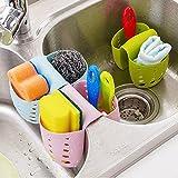Grocery House Sponge Sink Holder, Hanging Silicone Kitchen Gadget Storage Organizer, BasketsDrain Bag (Blue)