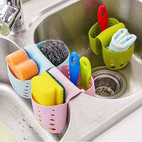 Grocery House Sponge Sink Holder, Hanging Silicone Kitchen Gadget Storage Organizer, Baskets Drain...