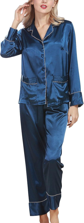 Morbida Pigiama Pigiami in Raso Camicia da Notte Donna Luxury Controllare Bottoni Camicia Collare con Pocket Chemise Lungo Camicia da Notte Dolamen Pigiama per Donna