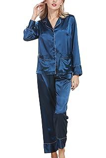 Dolamen Damen Satin Schlafanzug Nachthemd Negliee, Sleepshirt Schlafanzug,  Luxus und Attraktiv Ladies Lang Nachtwäsche 4661c14215