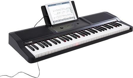 The ONE Smart Piano Teclado portátil con luz de 61 teclas, teclado electrónico MIDI USB, color negro ónice