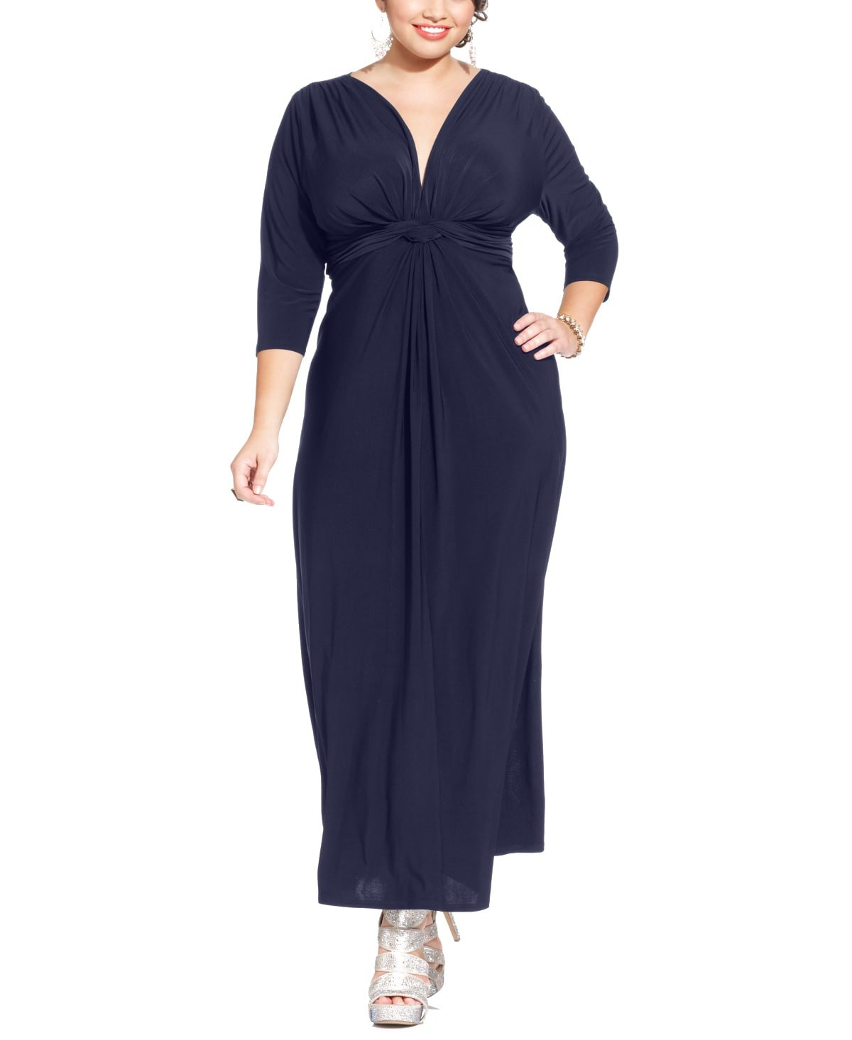 Love Squared Womens Plus-Size Three-Quarter-Sleeve Knotted Maxi Dress Navy 1X