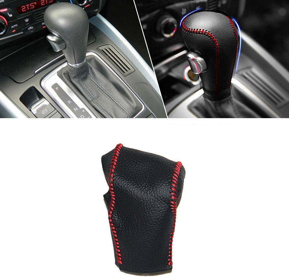 Funda de Palanca de Cambios de Cuero Protector para A1 A3 A4 A4L A5 A6 A6L A8 B5 B8 C5 D2 Q3 Q5 Q7 S5 S6 TT R8 automatico pomos Palanca de Cambios DSG Shifter con Costuras en Rojo Tipo C