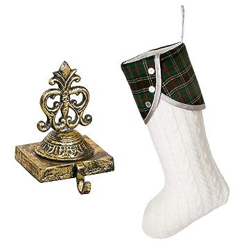 Luxus Weihnachtsstrumpf Set U2013 Schöne Distressed Gold Gusseisen  Weihnachtsstrumpf Halter Mit Luxus Designer Tartan Und Creme