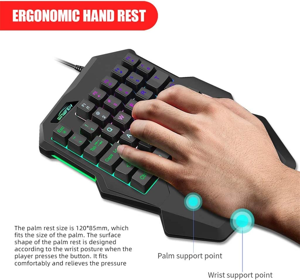 sakd Single-Handed Keyboard Mini USB2.0 Wired Chiken Game Keyboard 35 Keys Colorful Backlit Effect for Windows//Android PC Computer