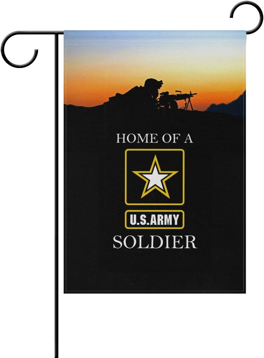 "poeticcity US Army Home of A US Army Soldier Home Decorative Outdoor Two-Sided Garden Flag 12""x18"" House Yard Seasonal Flags"