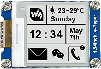 Waveshare 5 pcs 1.54 Inch E-Paper Display Panel Module Kit 200x200 Resolution 3.3v E-Ink Electronic Paper Screen with Embedded Controller SPI Interface for Raspberry Pi//Nucleo