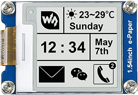 e-ink Display Module e-Paper Module 200x200 E-Ink Display Screen w//Embedded Controller for Raspberry Pi,1.54inch