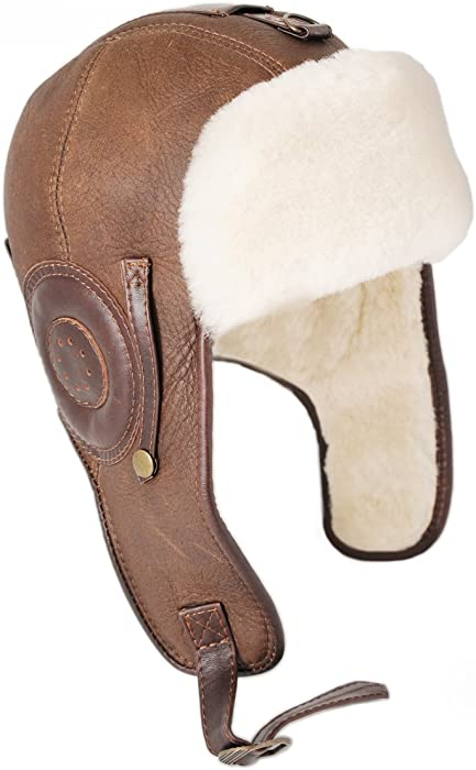 Ricardo B.H. Men s Pilot Genuine Sheepskin Hat in Distressed Brown - Medium 3895cc80cf5a