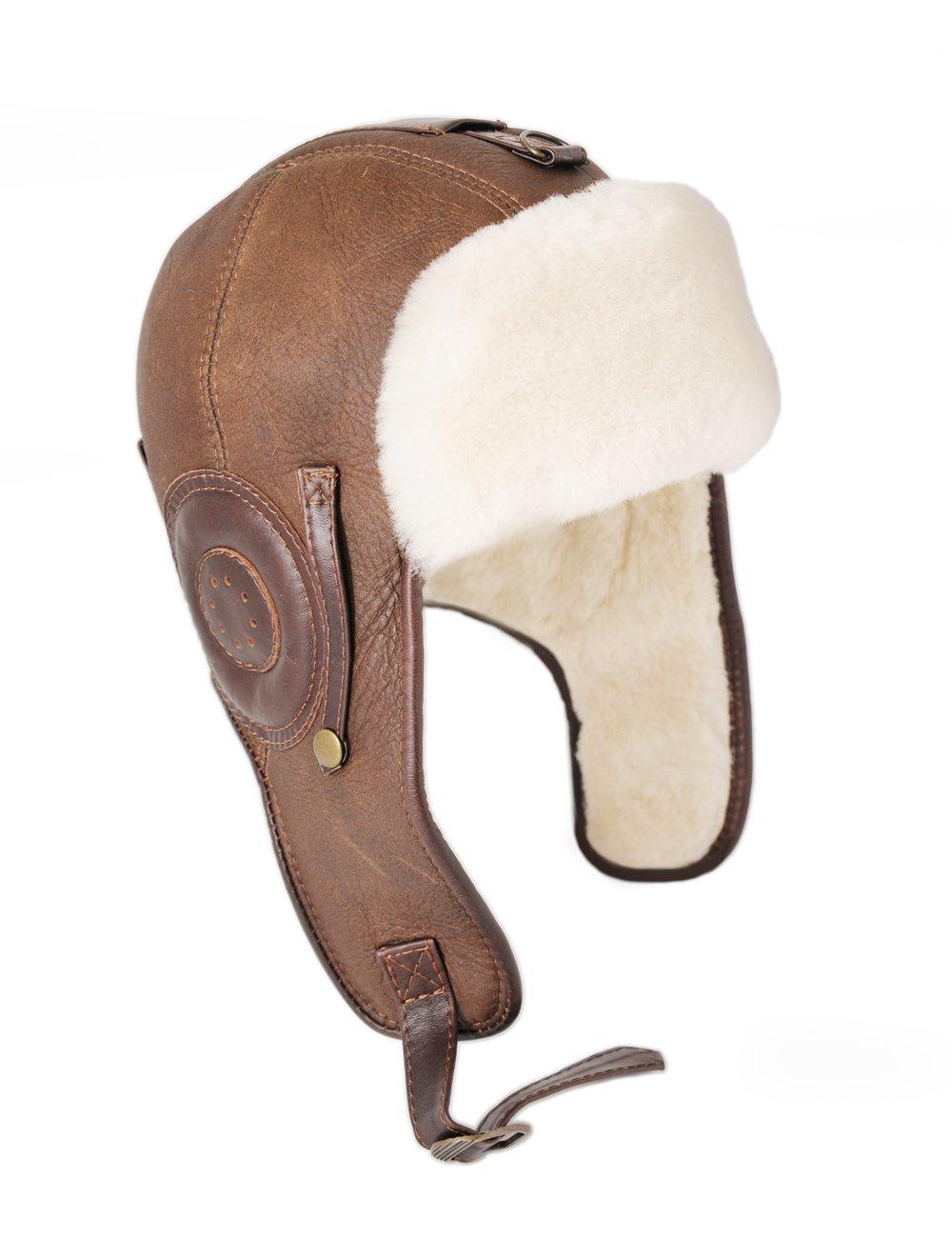 Ricardo B.H. Men's Pilot Genuine Sheepskin Hat in Distressed Brown - Xlarge