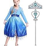 Lovely Mermaid Snow Princess Elsa Dress Crown Adventure Costume Fancy Long Sleeve Girls Kids