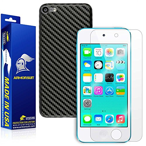 Ipod Carbon Fiber Skin - ArmorSuit Apple iPod Touch (6th Gen) Screen Protector MilitaryShield + Black Carbon Fiber Skin Wrap Back Film Protector for iPod Touch (6th Gen)