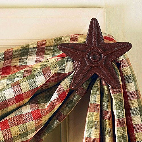 Park Designs Cast Star Curtain Hooks, Red, Includes 2 in Set ()