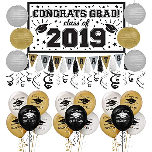 Party City Black, Gold, and Silver 2019 Graduation
