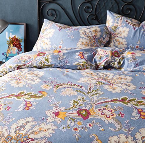 FADFAY Light Purple Bedding Set Paisley Cotton Bedroom Set 4-Piece Queen Size by FADFAY (Image #4)'
