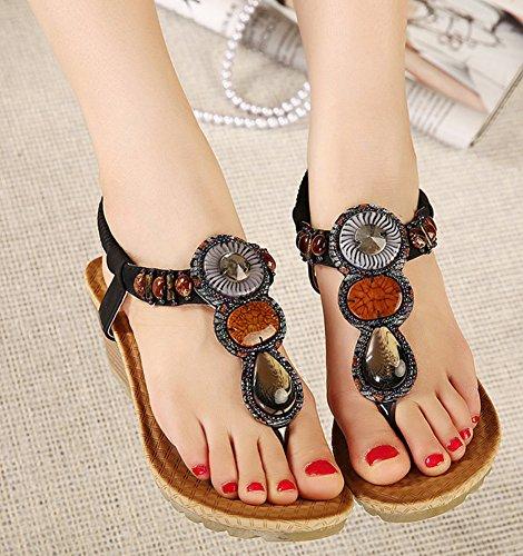 Women IDIFU Beaded Black Shoes Sandals Wedge FWwCBR6z