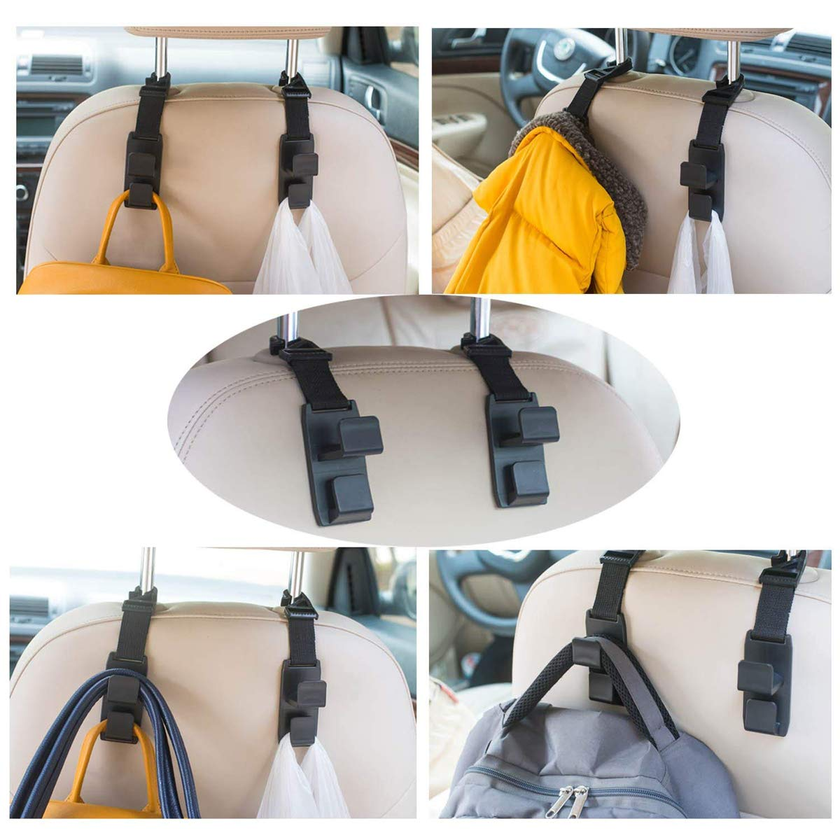 Clothes and Grocery Bags TraderPlus 4 Pack Car Seat Headrest Hooks Hanger Bottle Holder for Handbags