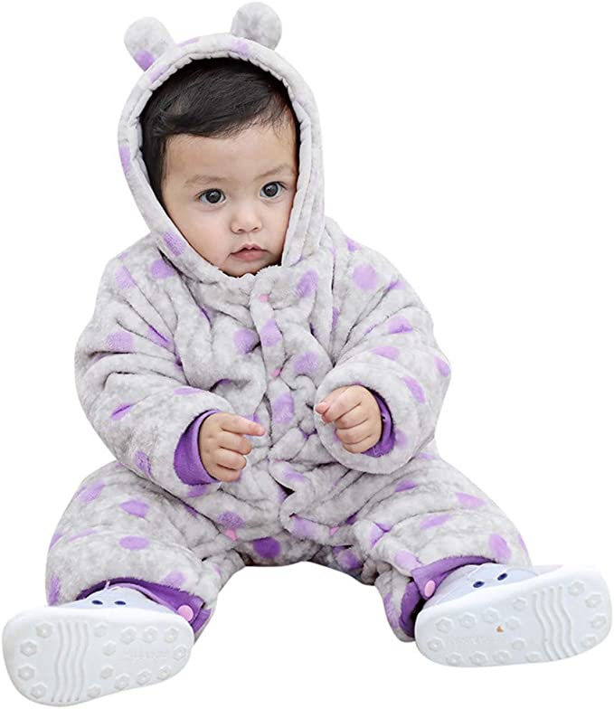 Newborn Baby Boys Girl Romper Hooded Winter Jumpsuit Bodysuit Outfits 0-12 Month