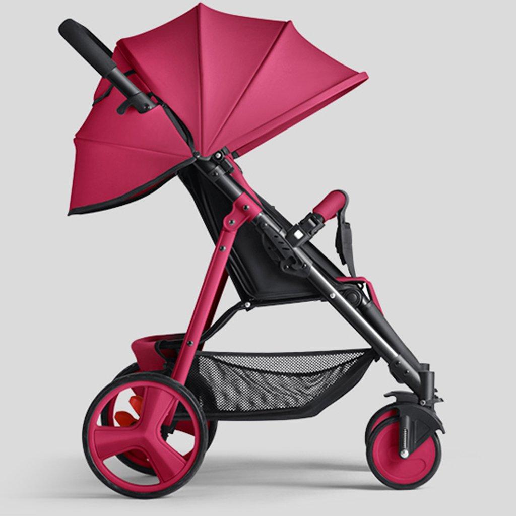 HAIZHEN マウンテンバイク ベビーカートは座る/折り畳むことができるポータブルトロリーカラースチールフレームを調整したサンシェード日焼け止めアンチUVショック吸収タイヤショッピングバス付きベビーキャリッジ 新生児 B07DL8DWJD Wine-red Wine-red