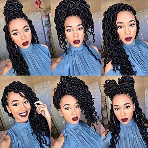 HLSK 6Packs/Lot 20'' Wavy Faux Locs Crochet Synthetic Braiding Hair 20 inch Soft Curly Fauxlocs Havana Mambo Twist Kanekalon Hair Extensions Braids (1B