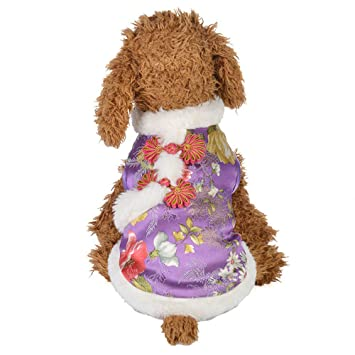Abrigos para perros Vestido tradicional chino Estilo Ropa para mascotas Camisa del perro de Cheongsam Camiseta