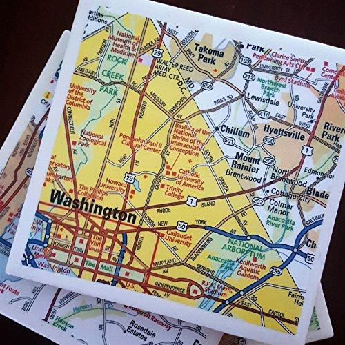 Including Maps - Washington DC Map Coasters, Drink Coasters, Including Bethesda, Arlington and Alexandria, Set of 4
