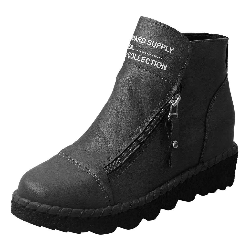 Dermanony Wedge Boots, Women's Fashion Solid Letter Print Ankle Boots Zipper Increase Casual Round Toe Short Boots Black by Dermanony _Shoes