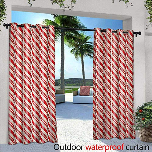 - BlountDecor Candy Cane Outdoor Blackout Curtains W84 x L108 Red Christmas Candies Pattern with Diagonal Stripes Traditional Winter Sweets Outdoor Privacy Porch Curtains Red Cream