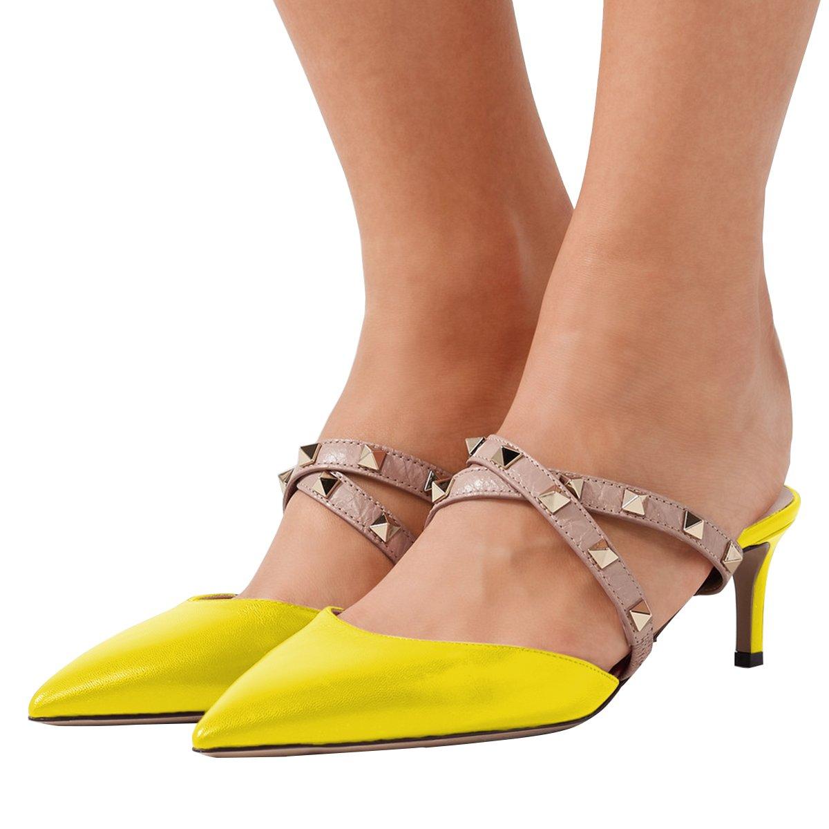 XYD Women Pointed Toe Studded Crisscross Strap Mule Sandal Pump Mid Heel Slip On Slide Shoes Size 9.5 Yellow