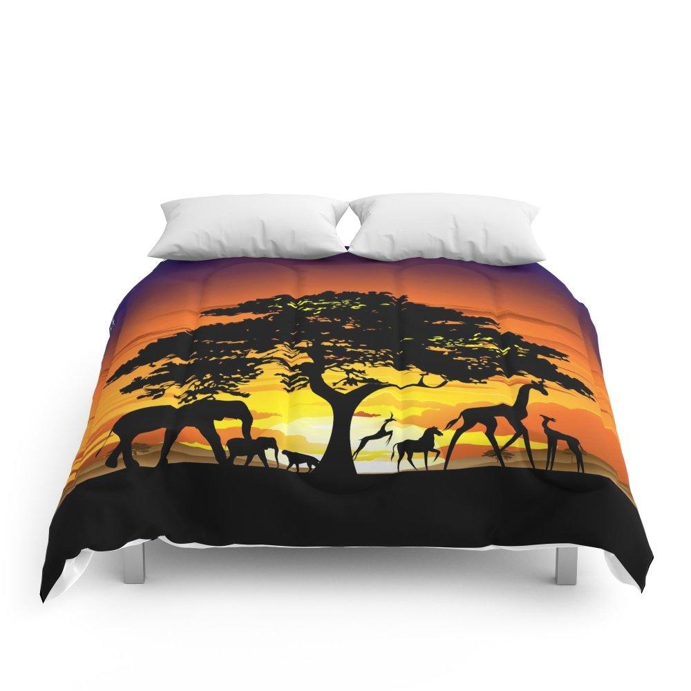 Society6 Wild Animals On African Savanna Sunset Comforters Queen: 88'' x 88''