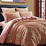 L&M Silk Four sets Mulberry silk Double-sided tian silk Jacquard Tribute satin Silk Stitching Piping Invisible Zipper Bed linings , powder , 200230cm