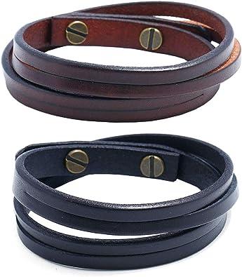 Negro 6 mm para Hombre Grueso Pulsera de cuero real con cierre magnético