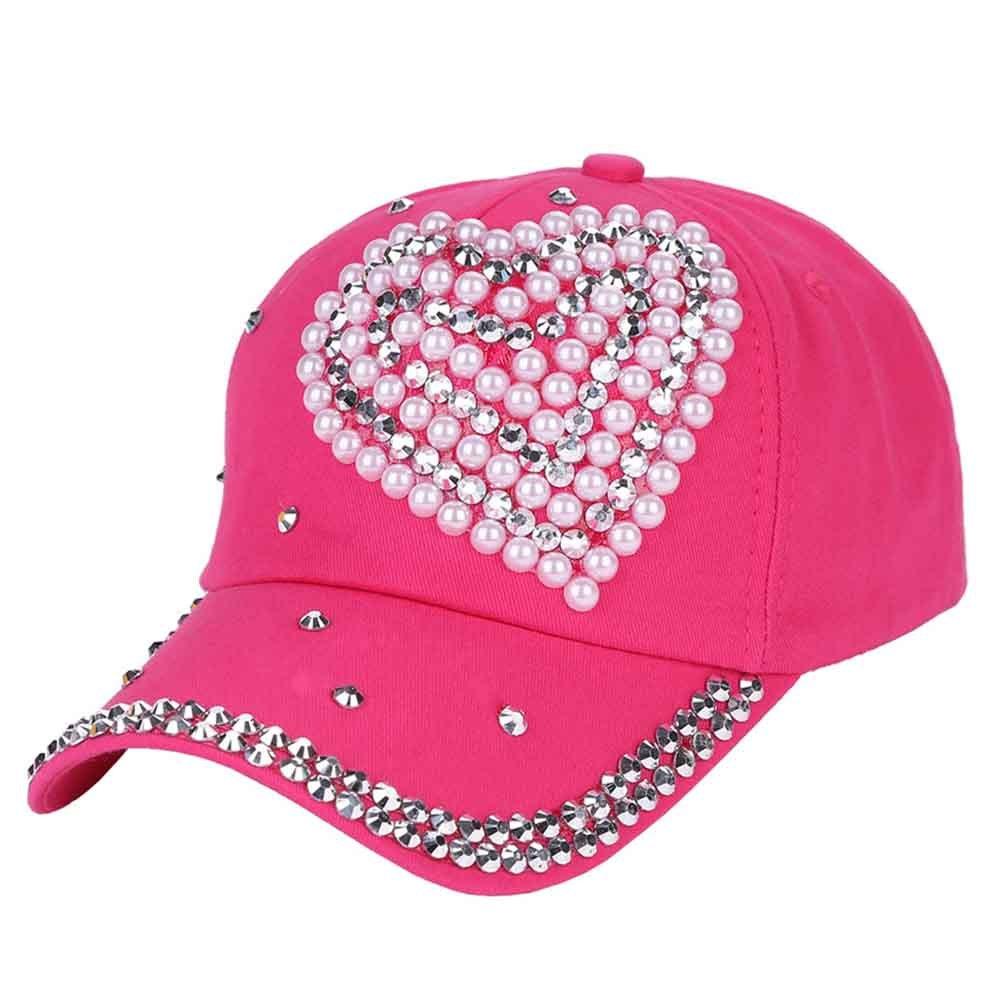 SZTARA Fashion Children Baseball Cap Faux Pearl Crystal Hunting Peak Cap Heart Adjustable Hiking Hat