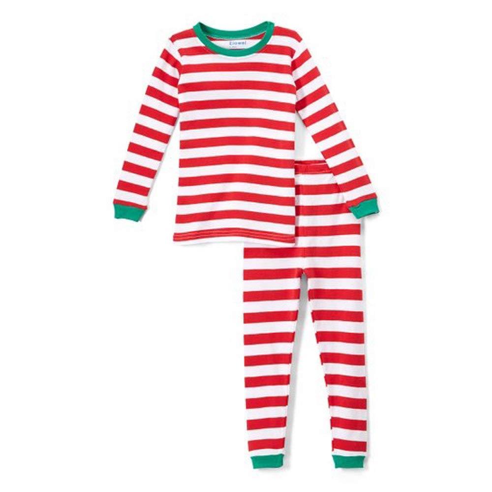 af6a0fade7b1 Amazon.com  Elowel Santa Christmas 2 Piece Pajamas Set 100% Cotton ...