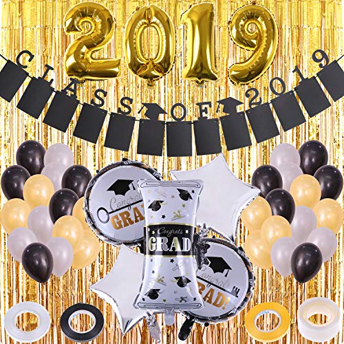 Graduation Party Decoration Supplies 2019 Balloons Decorations Banner Sets Latex Balloons Metallic Gold Fringe Curtain and Class of 2019 Banner for Graduation Party Background -