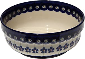 """Polish Pottery Bowl 6 Inch From Zaklady Ceramiczne Boleslawiec #833-166a Floral Peacock Traditional Pattern, Height: 2.5"""" Diameter: 6"""""""